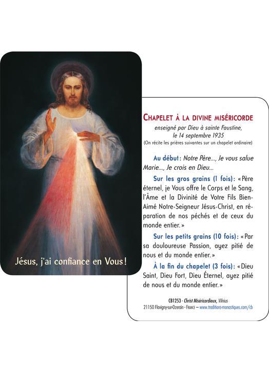 Carte-prière Christ Miséricordieux de Vilnus (gros plan et tutoiement) (Recto-Verso)