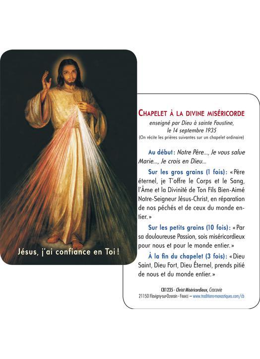 Carte-prière Christ Miséricordieux de Cracovie (vue complète et tutoiement) (Recto-Verso)