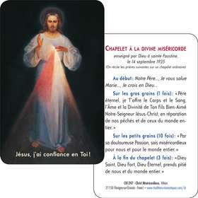 Carte-prière Christ Miséricordieux de Vilnus (tutoiement) (Recto-Verso)
