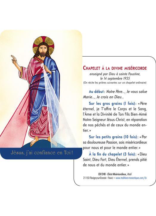 Carte-prière Christ Miséricordieux de Madi (Tutoiement) (Recto-Verso)
