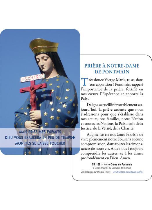 Carte-prière Notre-Dame de Pontmain (Recto-Verso)