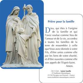 Carte-prière de la Sainte Famille (Recto-Verso)