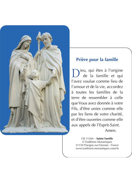 Card-prayer of the Holy Family (Recto-Verso)