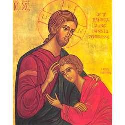 Icône religieuse : Le Christ et St Jean (TG, PL)