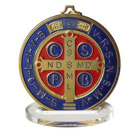 Médaille de saint Benoît émaillée de grande taille, 80 mm (Vue du recto)
