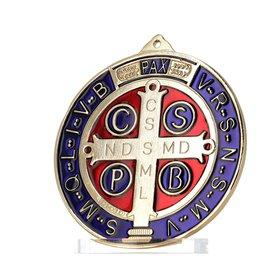 Médaille de saint Benoît émaillée grand modèle, 150 mm (Vue de face avec couleurs plus fidèles)