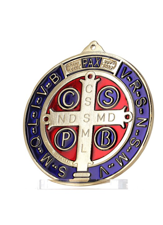 Medalla de San Benito esmaltada de gran formato, 150 mm. (Vue de face avec couleur plus authentique)