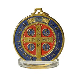 Medal of Saint Benedict enamelled, 50 mm
