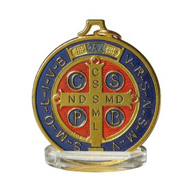 Medal of Saint Benedict enamelled, 50 mm (Vue du recto)