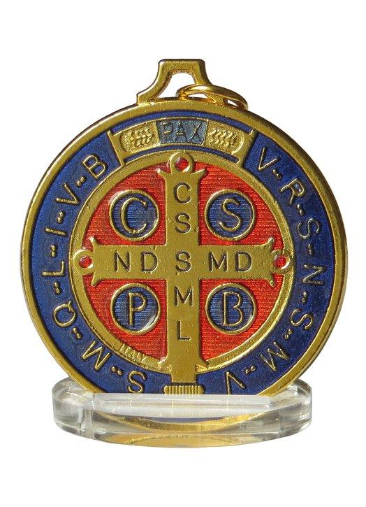 Médaille de saint Benoît émaillée de grande dimension, 50 mm (Vue du recto)