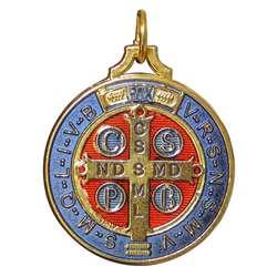 Médaille de saint Benoît émaillée, 40 mm (Verso)