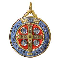 Medal of Saint Benedict enamelled, 40 mm