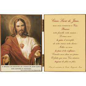 """""""Sacré-Cœur avec l'inscription: """"""""Je bénirai les maisons où l'image de mon Cœur sera exposée et honorée"""""""""""""""