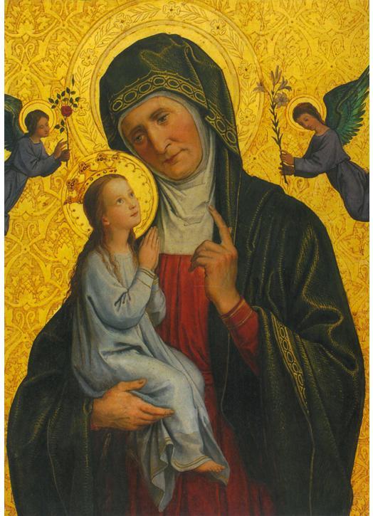 Icono de Santa Ana y la Virgen María