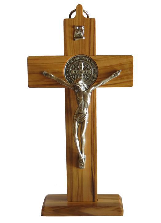 Crucifix of Saint Benedict rosewood ( Olive wood, 185 x100 mm) (Vue de face)