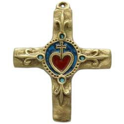 Bronze cross with Sacred-Heart and lily