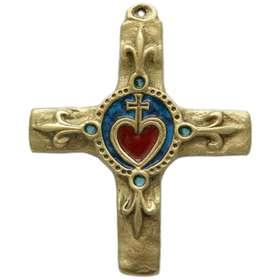 bronce cruz esmaltada Sagrado Corazón y lirio - 11 5 cm