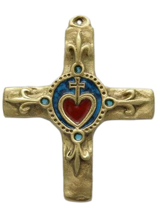 Croix bronze émaillé avec Sacré-Coeur et fleur de lys - 11, 5 cm