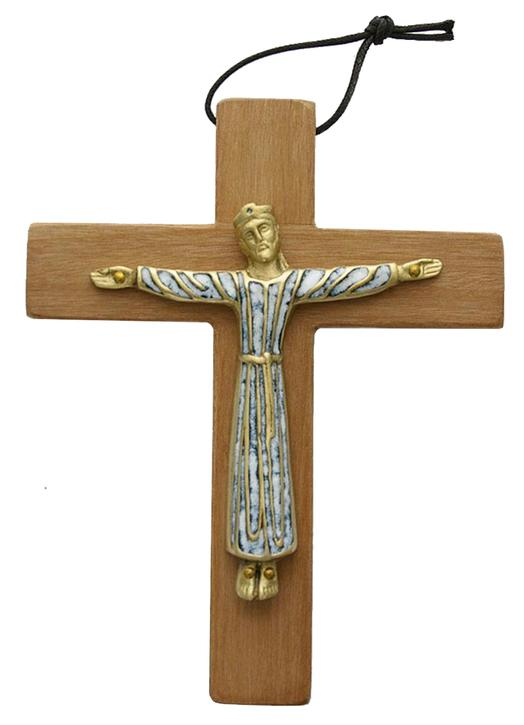 Vestido de bronce esmaltado Cristo montado sobre madera - 19 cm