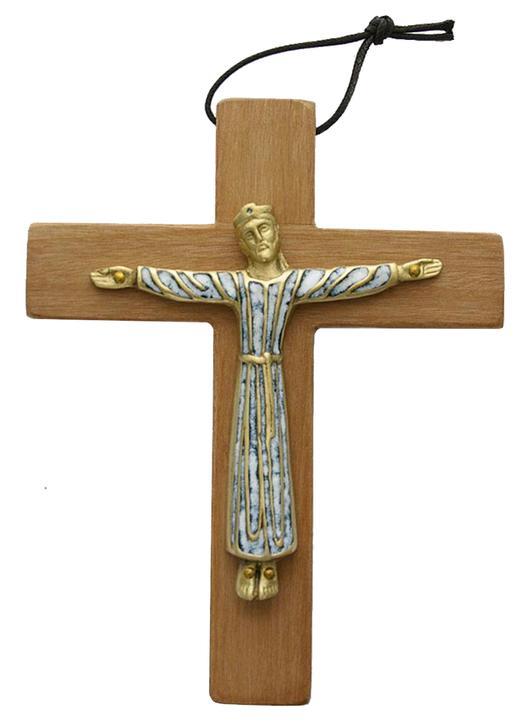 Christ bronze émaillé en robe monté sur bois - 19 cm