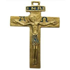 Crucifix bronze émaillé avec Alpha et Omega - 13 cm