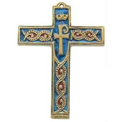 Croix bronze émaillé avec symbole - 14 cm