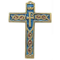Cross bronze enamelled symbol - 14 cm
