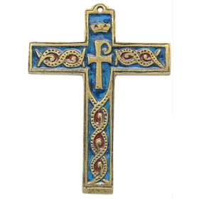 Cruz símbolo esmaltado de bronce - 14 cm