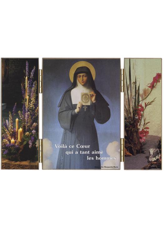 Sta. Margarita María (1647-1690) llevando una imagen del Sagrado Corazón