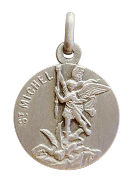 Medaille van Hl. Aartsengel Michael 18mm, verzilverd metaal