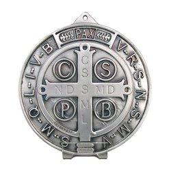 Médaille de saint Benoît grand format argentée, 150 mm (Recto)