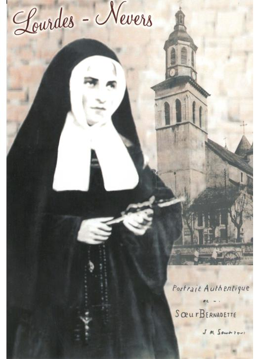 Portrait of Saint Bernadette with the Church of saint Peter