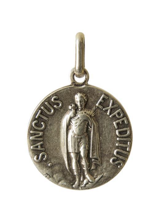 Medalla de San Expedito en metal, 18 mm