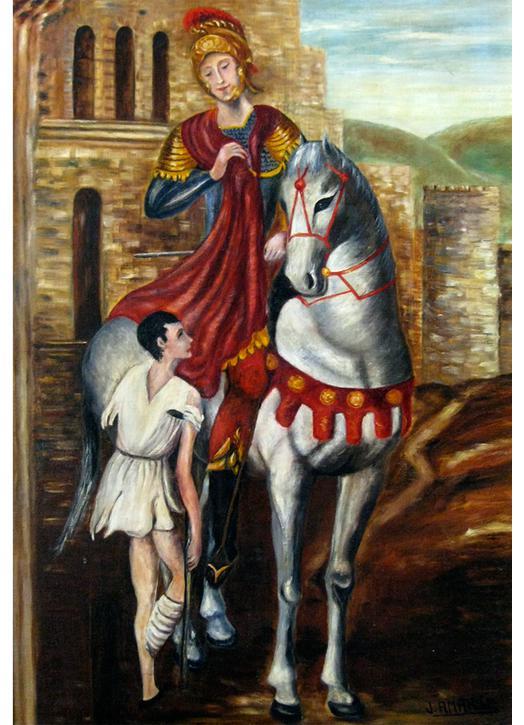 Saint Martin sharing his cloak with a poor man (Vue de l'image)