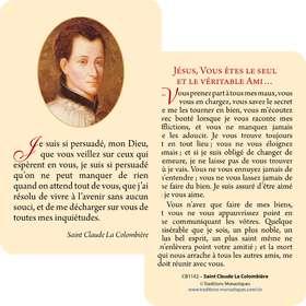 Cartes-prière Saint Claude La Colombière (Recto-Verso)