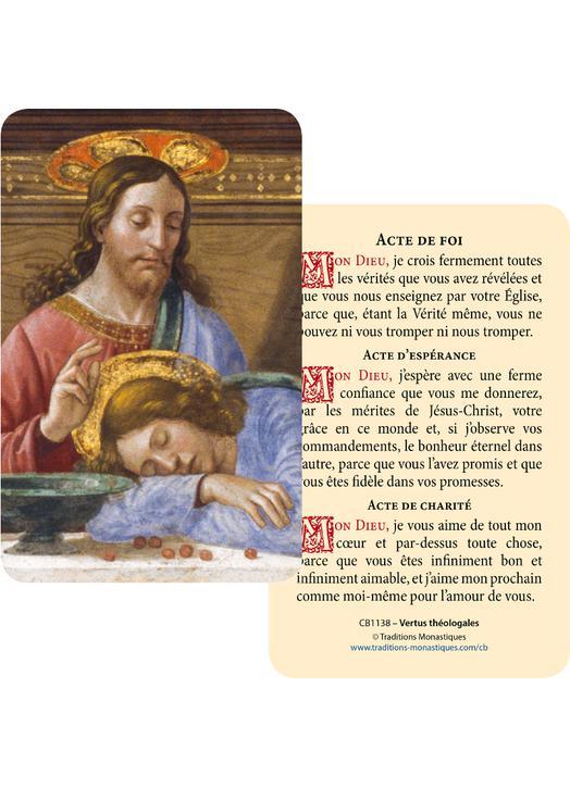Cartes-prière Les Vertus théologales (Recto-Verso)