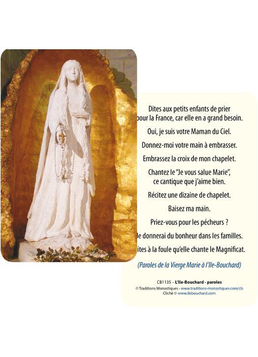 Cartes-prière de la Vierge Marie à l'Ile-Bouchard (Recto-Verso)