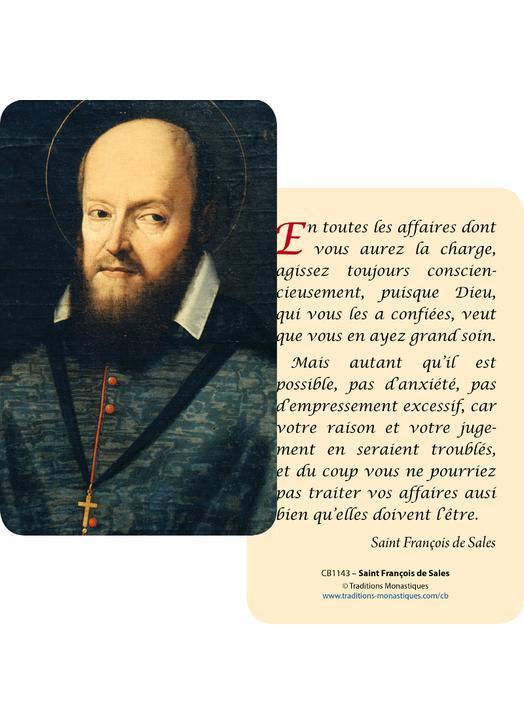 Cartes-prière Saint François de Sales (Recto-Verso)
