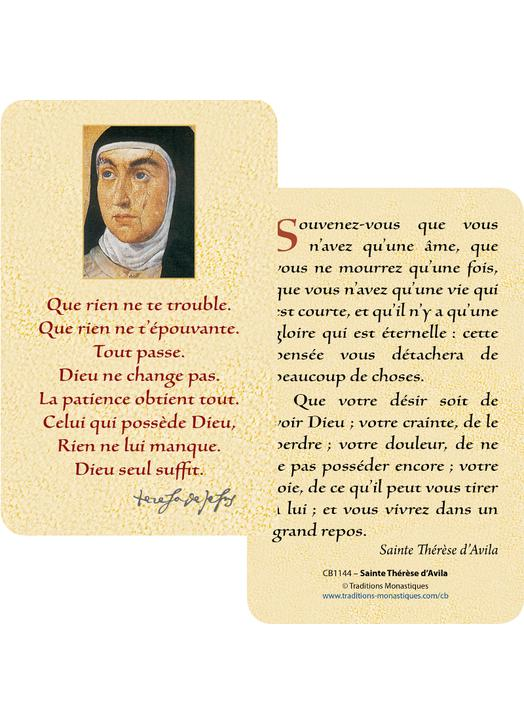 Cartes-prière Sainte Thérèse d'Avila (Recto-Verso)