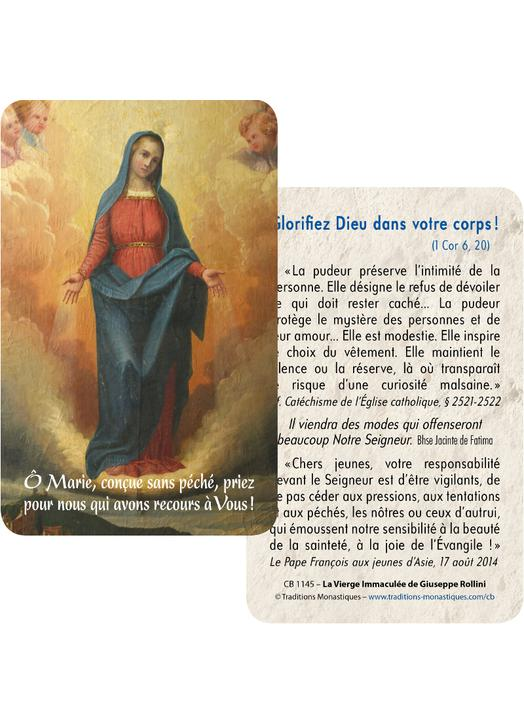 Cartes-prière La Vierge Immaculée de Giuseppe Rollini (Recto-Verso)