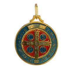 Medal of Saint Benedict enamelled, 32 mm (Recto)