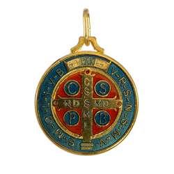 Medalla de San Benito esmaltada, 32 mm (Recto)