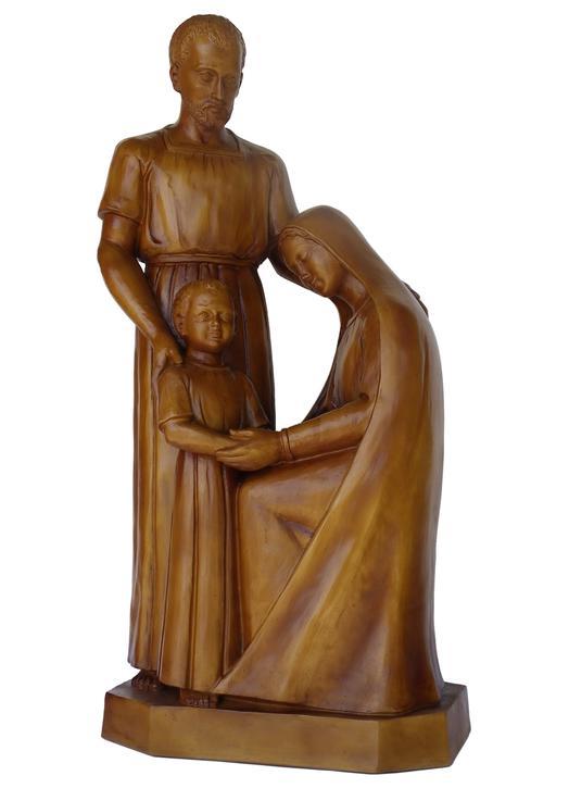 Statue de la sainte Famille, 80 cm, bois clair (Vue de face)