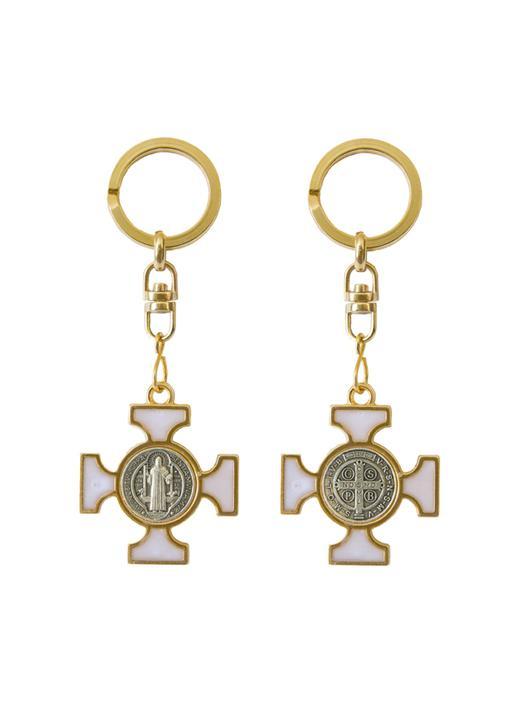 Enamel Saint Benedict keychain - beaded white