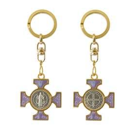 Porte-clé émail s. Benoit - violet perlé