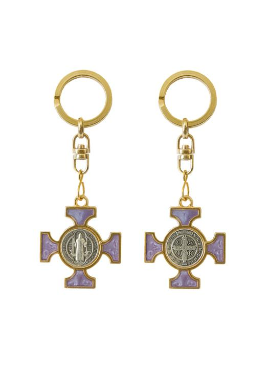 Enamel Saint Benedict keychain - beaded purple