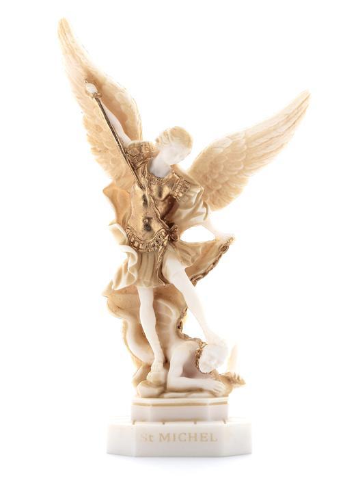 Statue de saint MIchel Archange, décoré or, 22,5 cm (Vue de face)