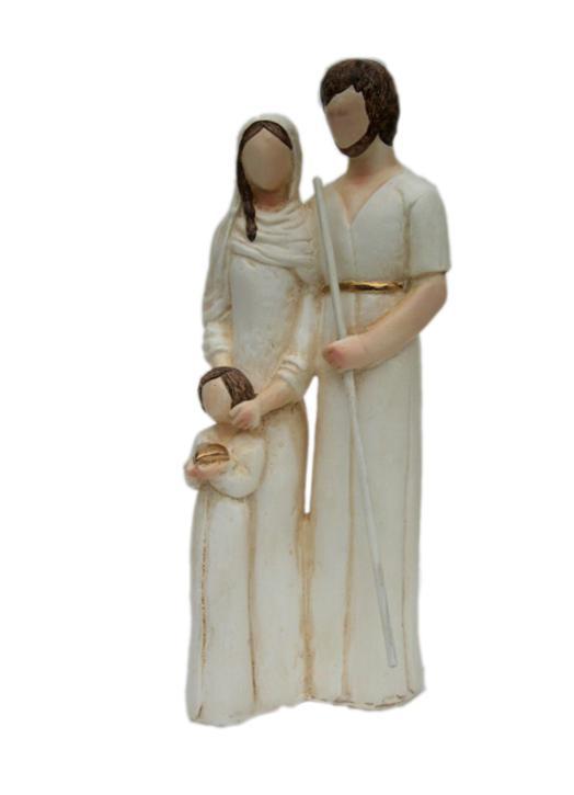 Statue de la sainte Famille au cœur, 19 cm (Vue de biais)