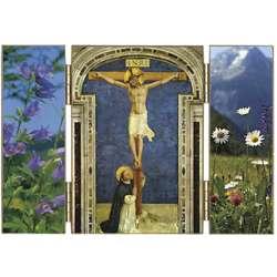 Het Kruisbeeld en de H. Dominicus geknield