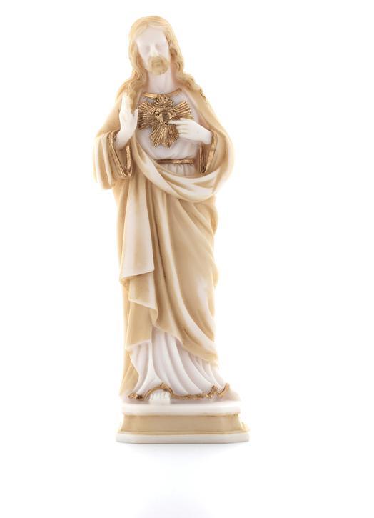Statue du Sacré-Coeur, décor or, 20 cm (Ve de face avec plus de lumière)